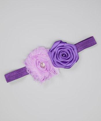 Lavender & Purple Shabby Flower Headband