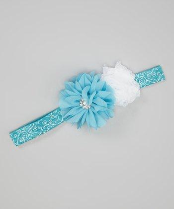 Teal & White Chiffon Flower Headband