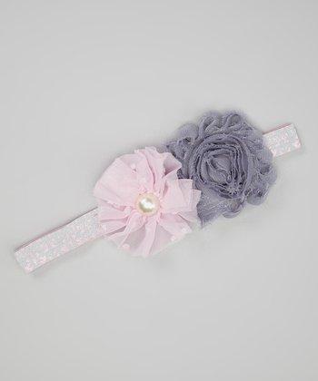 Gray & Light Pink Chiffon Flower Headband