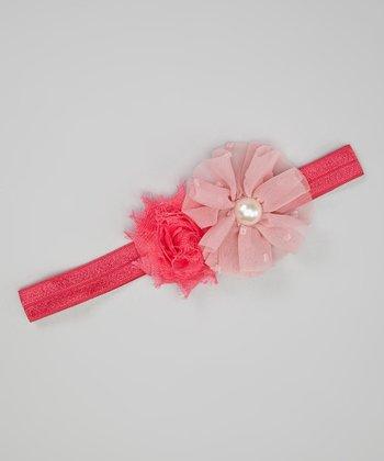 Pink & Hot Pink Chiffon Pearl Flower Headband