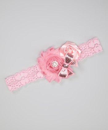 Pink Sequin Bow Shabby Flower Headband