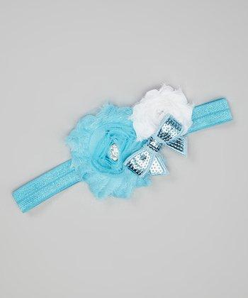 Blue & White Sequin Bow Shabby Flower Headband