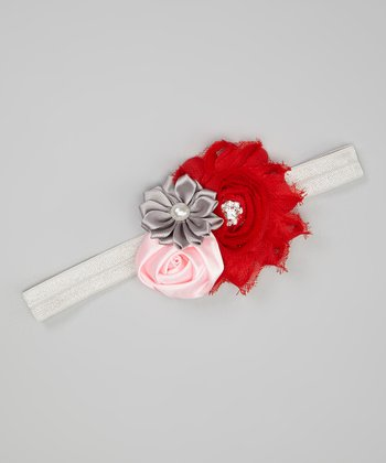 Red & Silver Flower Cluster Headband