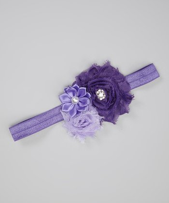 Purple & Lavender Flower Cluster Headband