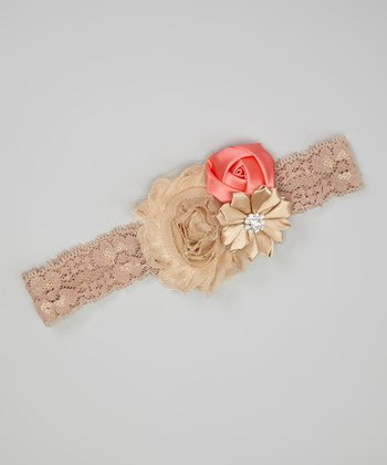 Coral & Tan Flower Lace Cluster Headband