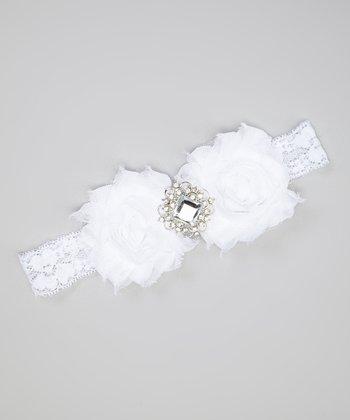 White Shabby Flower Rhinestone Headband