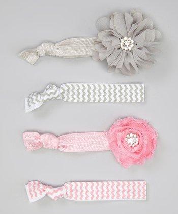 Gray & White Zigzag Hair Tie Set