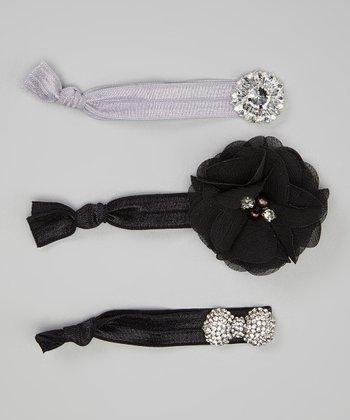 Black Rhinestone Bow Hair Tie Set