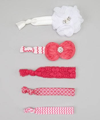Pink & White Zigzag Bow Hair Tie Set