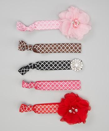 Red & White Quatrefoil Flower Hair Tie Set