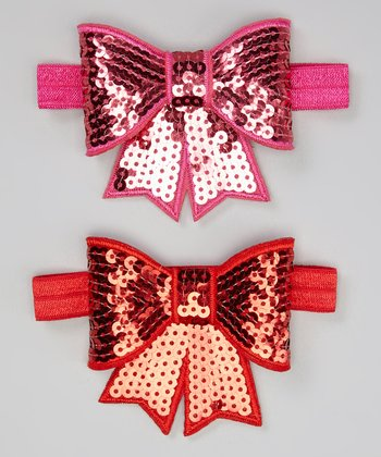 Red & Pink Sequin Bow Hair Tie Set