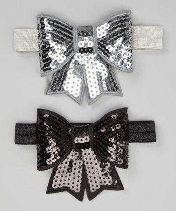 Black & Gray Sequin Bow Hair Tie Set