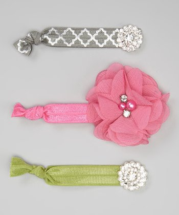 Pink & Sage Rhinestone Hair Tie Set