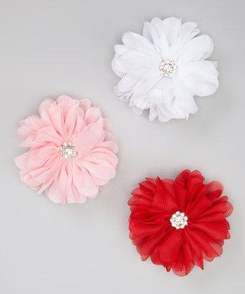 Red, Pink & White Rhinestone Flower Clip Set