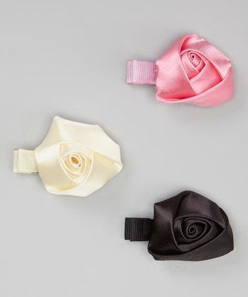Pink, Black & Ivory Rose Clip Set