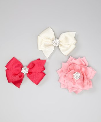 Hot Pink & Cream Rhinestone Bow Clip Set