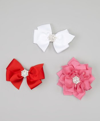 Red & White Rhinestone Bow Clip Set