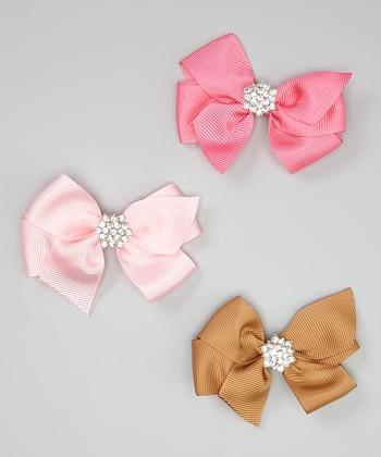 Tan, Pink & Hot Pink Rhinestone Bow Clip Set