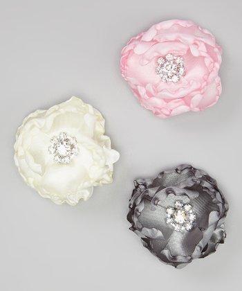 Gray, Ivory & Pink Satin Rhinestone Flower Clip Set