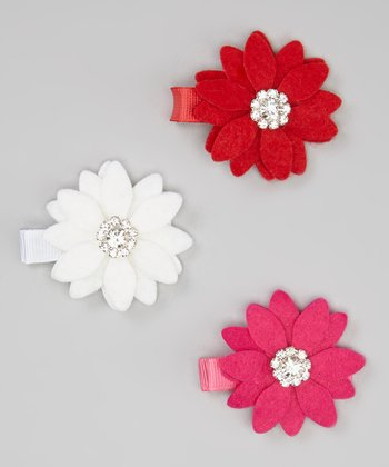 Red, White & Hot Pink Rhinestone Daisy Clip Set
