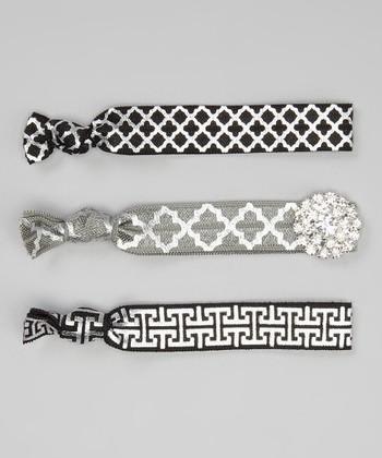 Black & Silver Quatrefoil Hair Tie Set