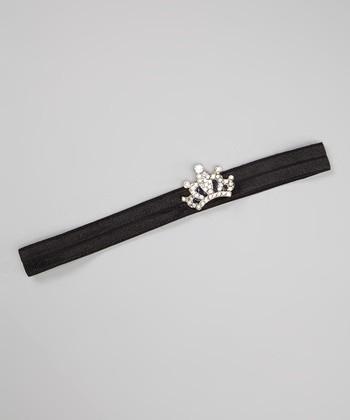 Black Rhinestone Crown Headband