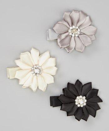 Silver, Ivory & Black Rhinestone Daisy Clip Set