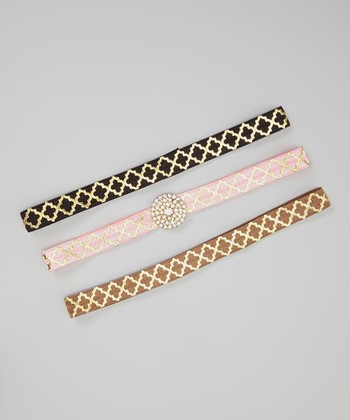 Pink & Gold Quatrefoil Rhinestone Headband Set