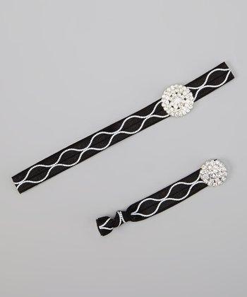 Black & White Rhinestone Headband & Hair Tie Set