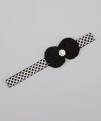 Black Quatrefoil Chiffon Flower Headband