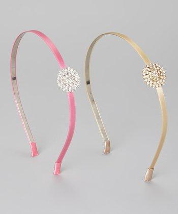 Pink & Gold Rhinestone Headband Set