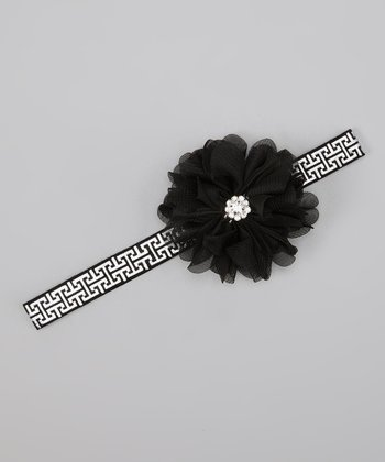 Black Rhinestone Flower Headband