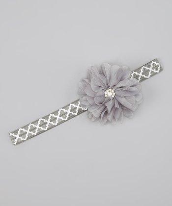 Gray & White Sparkle Flower Headband
