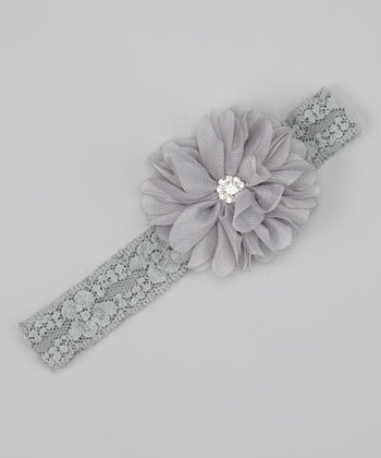 Gray Sparkle Flower Lace Headband