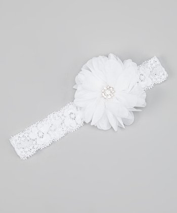 White Sparkle Flower Lace Headband