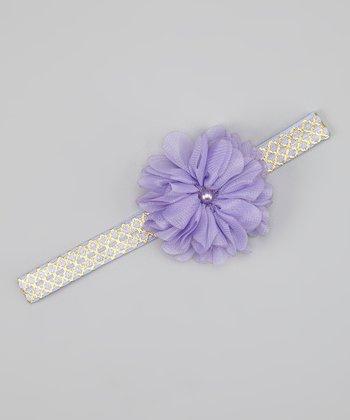 Lavender Pearl Flower Headband