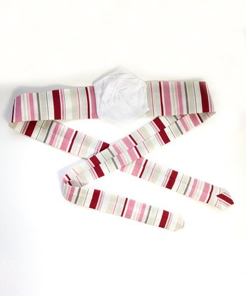 Red & White Stripe Flower Headband