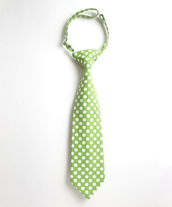 Light Green & White Polka Dot Tie