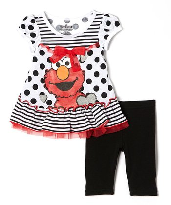 Black Polka Dot & Ruffle Elmo Tunic & Leggings - Toddler