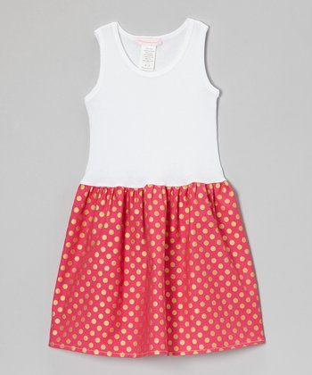 White & Pink Polka Dot Dress - Infant, Toddler & Girls