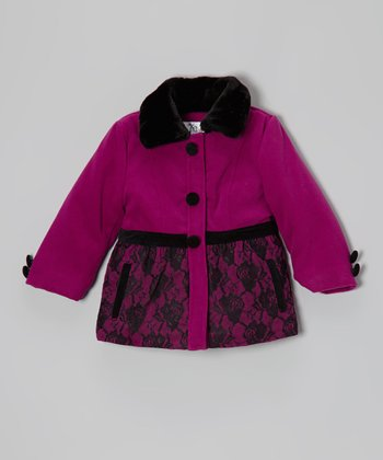 Pink & Black Lace Puffer Coat - Toddler & Girls