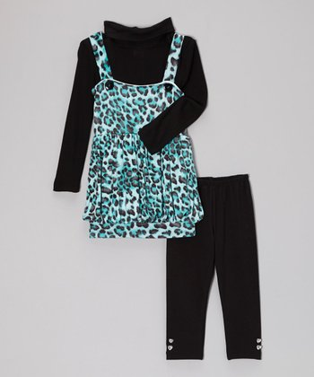 Aqua & Black Leopard Bubble Jumper Set - Girls