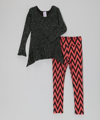 Black Glitter Mesh Sidetail Top & Coral Zigzag Leggings - Girls
