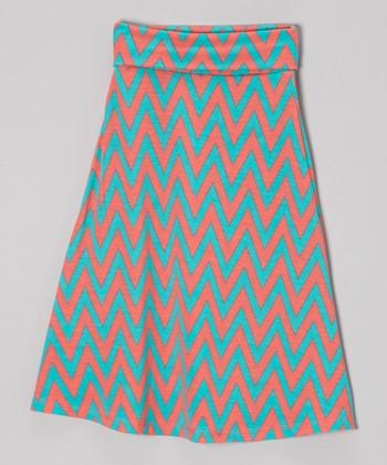 Peach & Mint Zigzag Maxi Skirt - Girls
