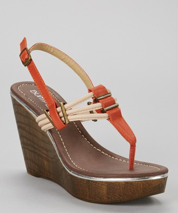 Orange Perry Wedge Sandal