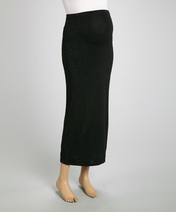 Black Over-Belly Maternity Maxi Skirt - Women & Plus