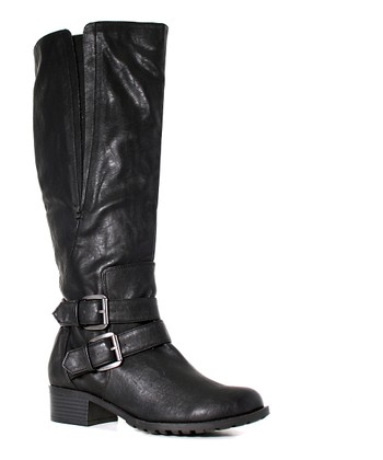 Black Extra-Wide-Shaft Boston Boot