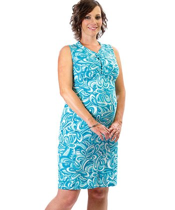 Turquoise Print Twisted-Collar During & After Nursing Dress