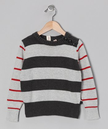 Charcoal & Black Stripe Sweater - Toddler & Boys