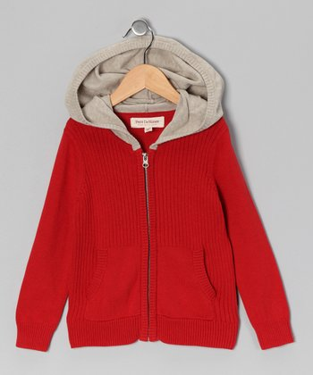 Red & Sand Zip-Up Hoodie - Boys